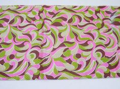 1960s Dress Fabric / Vintage 1960s MOD Psychedelic Fabric in Hot Pink, Pistachio, & Cocoa