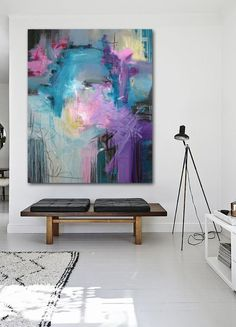 Abstract painting in modern interior. Pink, purple, grey, yellow by Rikke Laursen Contemporary Abstract Art, Modern Wall Art, Abstract Canvas Wall Art, Art Original, Painting Inspiration, Art Projects, Artwork, Decorative Accents, Grey Yellow