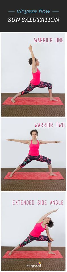 Learn this easy yoga sequence in minutes! 1. Warrior I: Step one foot forward, turn back foot slightly out, bend front knee directly over heel, and reach arms up. 2. Warrior II: Pivot at the hips and spread arms out to the sides, keeping feet in a straight line. 3. Extended side angle: Reach back arm up and forward, lengthening from heel to fingertips and resting front elbow gently on knee. 4. Slip into some fun workout gear and go practice your poses in nearby yoga classes.