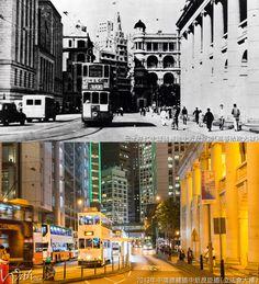 - 左: 第三代滙豐總行大廈 vs 第四代滙豐總行大廈 - 中左: 渣打銀行大廈 - 中右: 第一代太子大廈 vs 第二代太子大廈 - 右邊: 舊最高法院大樓 - 新圖中後: 新顯利大廈>東亞銀行大廈 - 新圖右: 皇后像廣場 - 31E/68W 銀行街 電車站 及 電車車輛 巴士型號資料: - 新圖: 亞歷山大丹尼士Enviro500 MMC@新巴