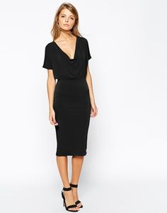 Crepe dress with cowl neck