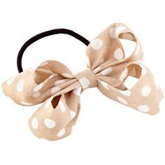Natural Polka Dot Bow ($6.47) ❤ liked on Polyvore