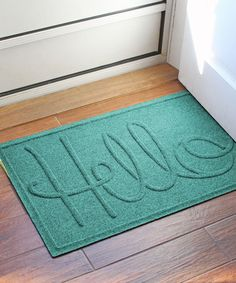Another great find on #zulily! Aquamarine 'Simple Hello' Aqua-Shield Mat #zulilyfinds