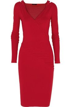 Donna Karan Wrap-effect stretch-jersey dress | NET-A-PORTER