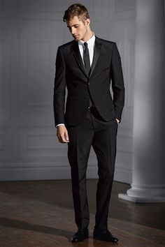 Buy Black Tuxedo Suit: Jacket from the Next UK online shop  The grooms suit. We would go for the classic black because it looks smart and the mr would look even more gorgeous in it. X  @Next  #MyBigMoment