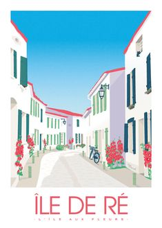 With this original poster in bright and clear tones, you're sure to hit the bull's-eye! Marcel Travel Posters focuses on the retro charm of the flower-lined alleyways of the most chic island of Nouvelle Aquitaine. Retro Poster, Poster S, Poster Prints, Tourism Poster, Travel Illustration, Vintage Travel Posters, Grafik Design, Marcel, Illustrations Posters
