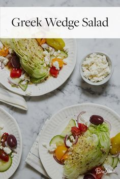 Greek Wedge Salad via @PureWow.  Big hit.  Left garlic out of dressing and it was still good.  Takes about 10/15 minutes to prep so quick and easy. Served it with grape tomatoes, cukes, and for protein crumbled bacon, blue cheese and feta.  Great hot day dish!