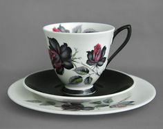 Royal Albert, vintage china tea cup, saucer and plate trio, Masquerade, c1950s, £12