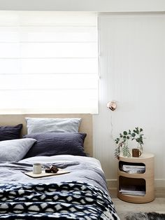Flat Out Queen Bed with Oh bedside table, Dot blanket and Ball wall lamp