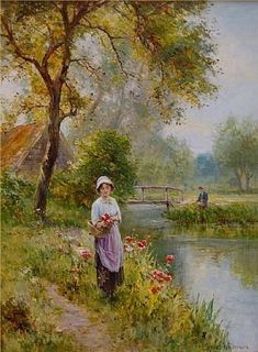 Ernest Walbourn - Picking Flowers at the Waters Edge