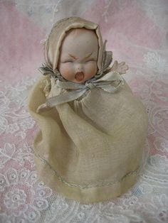 Rare Gebruder Heubach Screaming Baby All Bisque in Wicker Baby Carriage Buggy