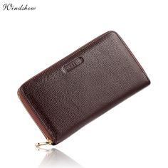 Check it on our site Large Mens Wallets Leather Genuine Real Cowhide Long Zipper Wallet Purses Pencil Case Card Checkbook Holder carteira masculina just only $20.00 with free shipping worldwide  #walletsformen Plese click on picture to see our special price for you