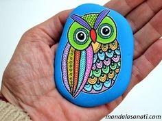 baykuş taş boyama 3