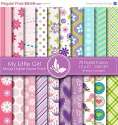 40 off My Little Girl Paper Pack  20 Printable by SheryKDesigns