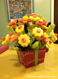 fruit decorations for parties | Fruit Flower Arrangement. It was for the neighborhood Christmas Party ...