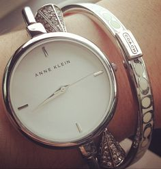 Anne Klein watch silver coach bangle stack