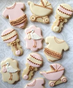 Pink or Blue & Cream with Gold Decorated Baby Cookies - One Dozen Decorated Sugar Cookies - Perfect for Baby Showers