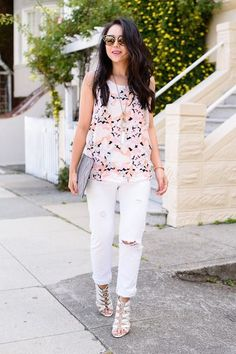 6 Chic Labor Day Looks You'll Love #refinery29  http://www.refinery29.com/labor-day-outfit-ideas#slide-1  This Olive And Oak floral look on Kate Ogata of The Fancy Pants Report is meant for a Sunday brunch feast. ...