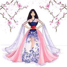 Mulan by Holly Nichols Disney Princess Fashion, Disney Princess Art, Disney Princess Dresses, Disney Dresses, Princess Style, Disney Style, Disney Princess Sketches, Disney Artwork, Disney Fan Art