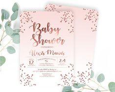 Baby Girl Shower Invitation Rose Gold Baby Shower Invite