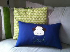 Monkey Appliqued on Navy Lumbar Pillow or Pillow Cover with Green embroidered name on Etsy, $33.00