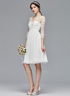 A-Line/Princess V-neck Knee-Length Ruffle Chiffon Lace Zipper Up Sleeves 3/4 Sleeves Beach Hall Garden / Outdoor Reception No Spring Summer Fall Ivory White Wedding Dress