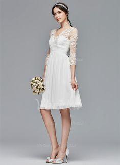 A-Line/Princess V-neck Knee-Length Ruffle Chiffon Lace Zipper Up Sleeves 3/4 Sleeves Beach Hall Garden / Outdoor Reception No Spring Summer Fall Ivory White Wedding Dress