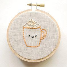 Pumpkin Spice Latte Free Embroidery Pattern