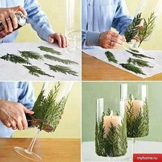 Awesome centerpiece idea. Love fern leaves - my dad loves ferns, too. Could be a nice personal detail.