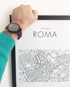 CITY MAP® collection of prints designed by me. ROMA. Thanks to @woodwatches_com for my sandalwood & emerald watch. #jordwatch #woodwatch #fallaccessories #woodenwatch #citymap #citymaps