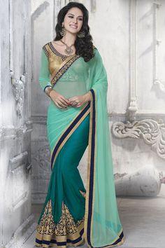 Stunning Teal Blue and Ice Green #Saree