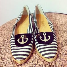 Vintage 70s 80s Pappagallo Nautical Wedge Shoes with Stripes and Anchor Size 5.5 N