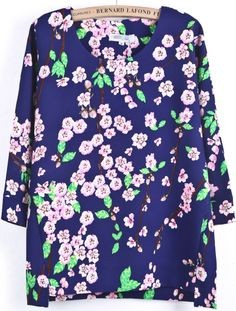 Blue Batwing Long Sleeve Floral Dipped Hem Blouse US$30.00