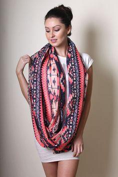 Women's Boho Ikat Aztec Tribal Infinity Scarf - Anika Dali / Snood. Women's Fashion Scarves. Sarong Wraps. Gift Ideas.