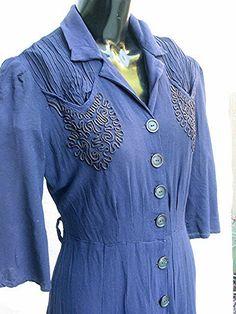 1940s 40s Navy Blue Dress Crepe with Soutache 1940's 40's. $85.00, via Etsy.