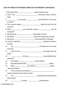 The present simple and the present continuous - Interactive worksheet Money Worksheets, 2nd Grade Math Worksheets, Activities For Teens, English Activities, Present Continuous Worksheet, Singapore Math, Grammar Lessons, School Subjects, Learn English