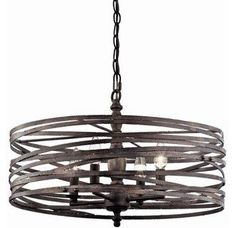 This chandelier ads a new twist to classic lighting design with its unique weathered band drum shade. It is versitile enough to compliment a small dining space, or be an accent piece in a much larger room. Wrought Iron Chandeliers, Elegant Chandeliers, Home Lighting, Lighting Design, Kitchen Lighting, Lighting Direct, Cabin Lighting, Entry Lighting, Rustic Lighting