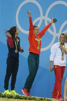 #RIO2016 - Best of Day 1 - Katinka Hosszu of Hungary celebrates his gold medal after the women's 400m individual medley with Mireia Belmonte Garcia of Spain and Maya Dirado of...