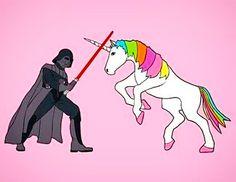 Darth Vader VS The Magical Unicorn wallpaper Last Unicorn, Real Unicorn, Unicorn And Glitter, Rainbow Unicorn, Unicorn Farts, Funny Unicorn, Magical Unicorn, Darth Vader, Ibiza Look