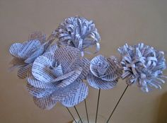 Set of 5 Book Page Paper Flowers,Stem Roses,Vintage Paper Flower,Rolled Paper Flowers,Book Paper Wedding Decoration,Eco Wedding,Centerpiece by ThePurpleDream on Etsy