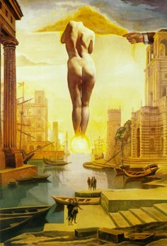 Dali's Hand Drawing Back the Golden Fleece in the Form of a Cloud to Show Gala the Dawn, Completely Nude, Very, Very Far Away Behind the Sun - Salvador Dali (stereoscopic work, left component), 1977