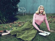 Fitted sweater, collared shirt, and skirt, hair styling will be important for the women! - AmandaBeth Online: 1950s Sweaters for Fall