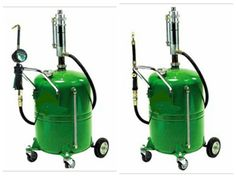 """Oil dispensing kit with wheel mounted reservoir of 65 litres equipped with level gauge. Complete with: double acting pump, adaptor, delivery hose 1/2"""" -4 meters, double valve oilgun complete with 1/2"""", straight swivel anti-splash funnel."""