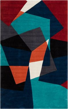 Shop for Hand-tufted Abstract Geometric Contemporary Area Rug. Get free delivery On EVERYTHING* Overstock - Your Online Home Decor Store! Contemporary Area Rugs, Design Graphique, Hand Tufted Rugs, Art Plastique, Throw Rugs, Midnight Blue, Oeuvre D'art, Bunt, Artwork