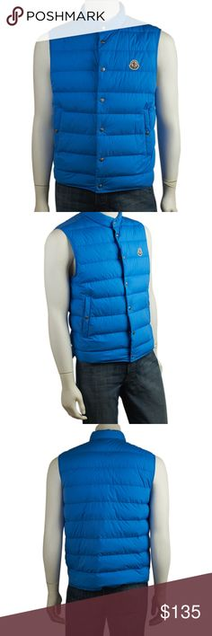 Moncler Blue Nylon Vest Size L (141446) •Designer: Moncler •Exterior Condition: Like New •Type: Vest •Material: Nylon •Origin: Romania •Color: Blue •Odor: None •Size Type: Regular •Size System: US •Weight: 1 lbs •Size: L •Length: 20 •Waist: 22 •Hip: 22 •Bust: 21 •Shoulder Width: 12 •Overall Condition Description: This Moncler vest features: Light wear and staining throughout Ref: 140628-141446-MS-SH IPL: Moncler Jackets & Coats Vests