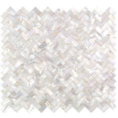 Serene White Pearl Herringbone Tile - Pearl Shell Tiles