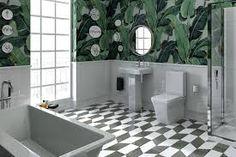 Martinique wallpapered bathroom + Kohler fittings and fixtures = bathroom porn! Bathroom Sink Decor, Modern Bathroom Sink, Single Handle Bathroom Faucet, Modern Bathroom Design, Bathroom Colors, Bathroom Styling, Bathroom Fixtures, Bathroom Interior Design, Kohler Bathroom