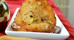 Sweet pancakes from India called Malpua Indian Desserts, Baked Potato, Fries, Pancakes, French Toast, Breakfast, Ethnic Recipes, Sweet, Food