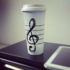 Music travel mug #coffee Coffee Music, Travel Music, Creative Gifts, Cupboard, Projects To Try, Crafty, Mugs, Tableware, Trombone