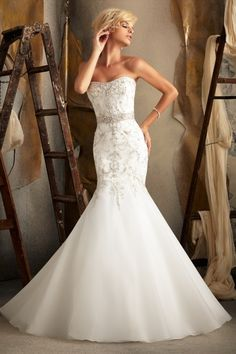 Shop 2013 Wedding Dresses Trumpet Mermaid Sweetheart Sweep Brush Train Organza Applique PP6C46A8 Online affordable for each occasion